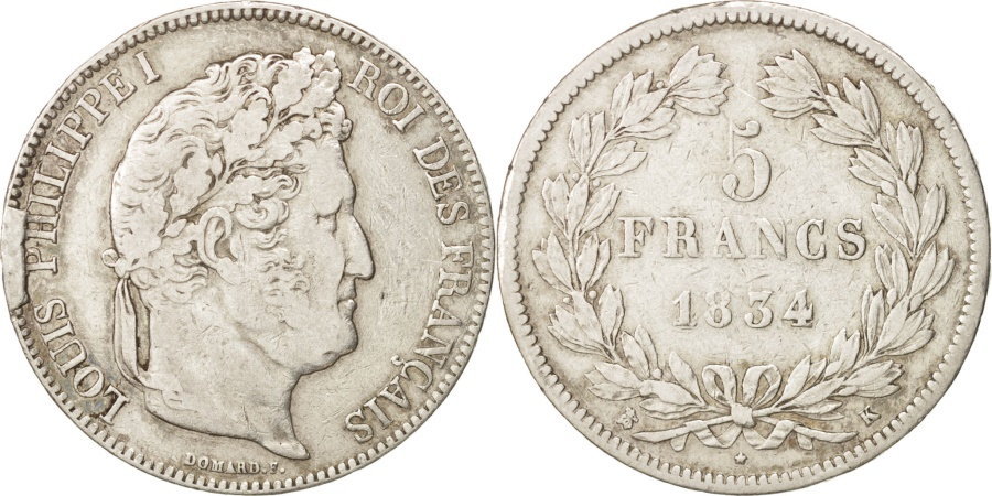 World Coins - France, Louis-Philippe, 5 Francs, 1834, Bordeaux, , Silver, KM:749.7