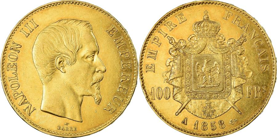 World Coins - Coin, France, Napoleon III, 100 Francs, 1858, Paris, , Gold, KM:786.1