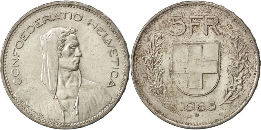 World Coins - SWITZERLAND, 5 Francs, 1965, Bern, KM #40, , Silver, 31.45, 14.98