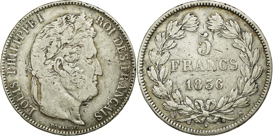 World Coins - Coin, France, Louis-Philippe, 5 Francs, 1836, Rouen, VF(20-25), Silver
