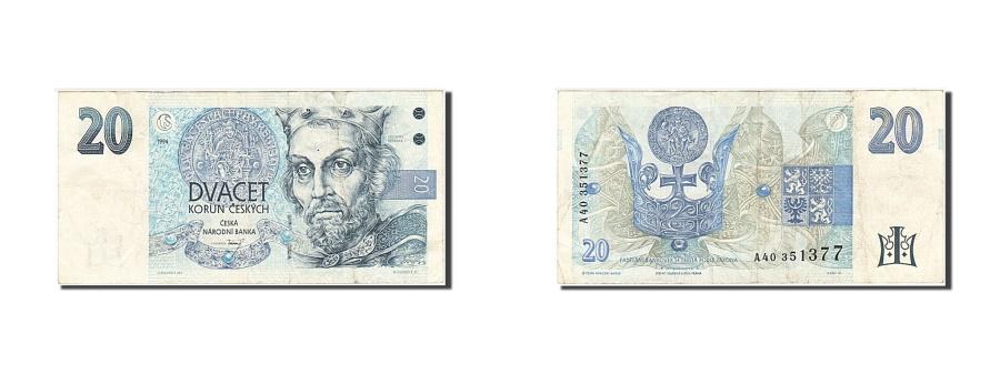 World Coins - Czech Republic, 20 Korun, 1994, KM #10b, VF(30-35), A40 351377