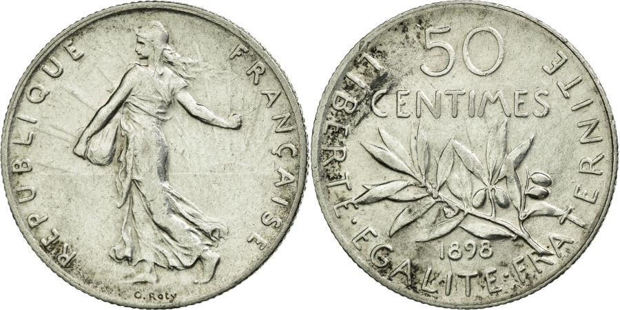 World Coins - Coin, France, Semeuse, 50 Centimes, 1898, Paris, AU(55-58), Silver, KM:854