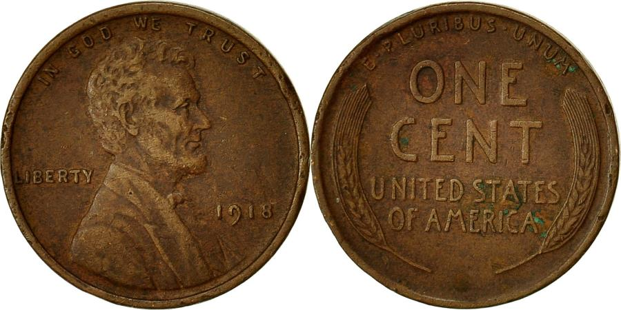 US Coins - Coin, United States, Lincoln Cent, Cent, 1918, U.S. Mint, Philadelphia