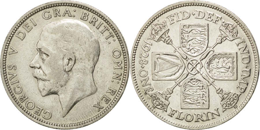 World Coins - GREAT BRITAIN, Florin, Two Shillings, 1928, KM #834, , Silver, 28.3,...