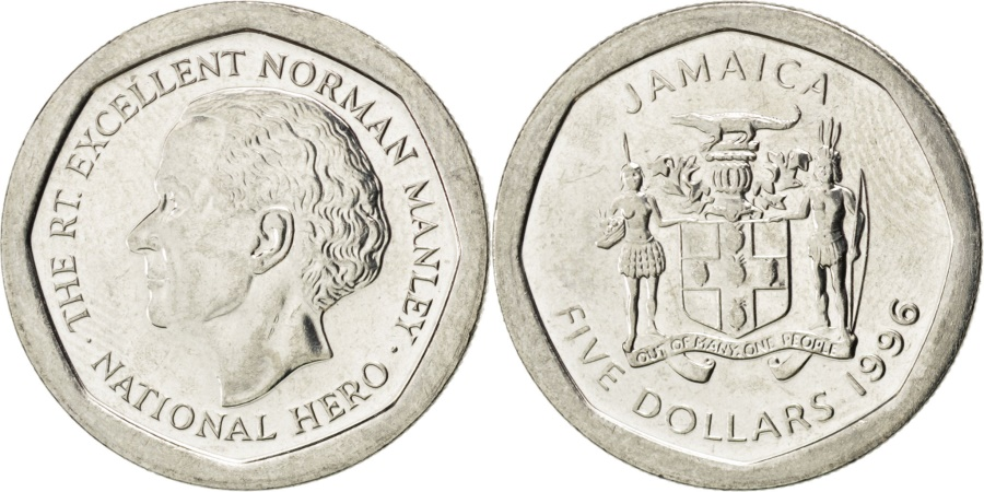 World Coins - JAMAICA, 5 Dollars, 1996, British Royal Mint, KM #163, , Nickel Plated...