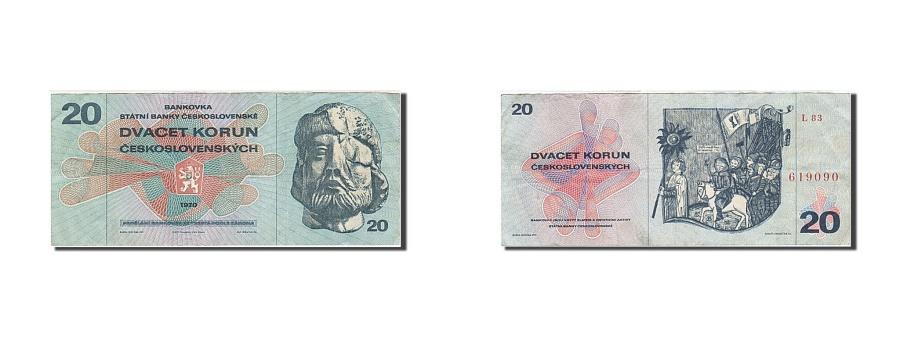 World Coins - Czechoslovakia, 20 Korun, 1970, KM #92, VF(30-35), L 83