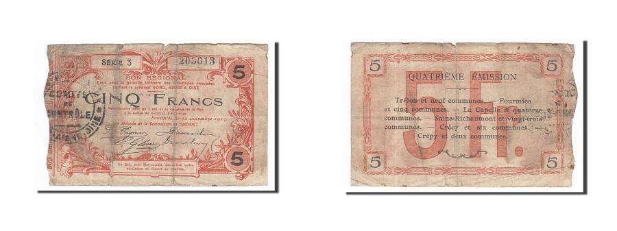 World Coins - France, Fourmies, 5 Francs, 1917, F(12-15), Pirot:59-1135