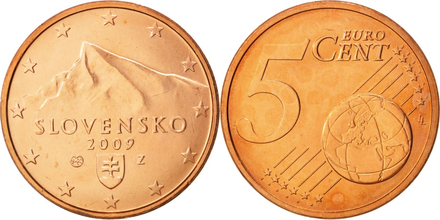 World Coins - Slovakia, 5 Euro Cent, 2009, , Copper Plated Steel, KM:97