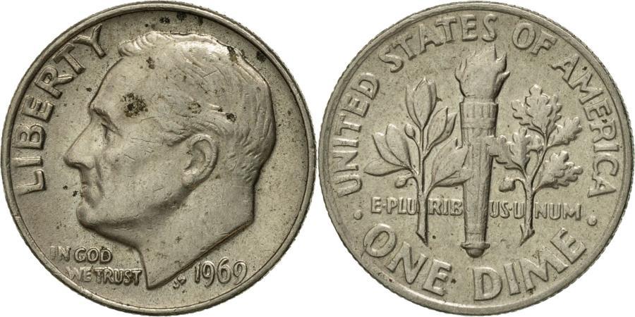 US Coins - Coin, United States, Roosevelt Dime, Dime, 1969, U.S. Mint, Philadelphia