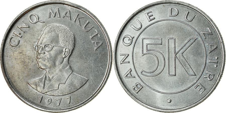 World Coins - Coin, Zaire, 5 Makuta, 1977, , Copper-nickel, KM:12