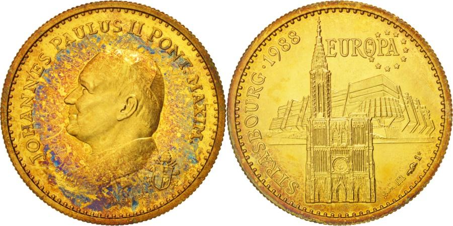 World Coins - France, Medal, Jean-Paul II, 1988 Strasbourg, Religions & beliefs,