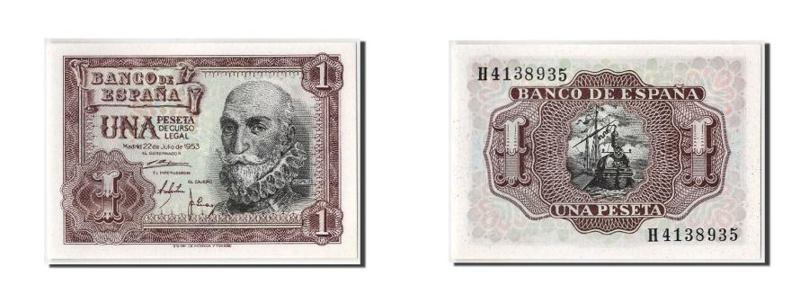 World Coins - Spain, 1 Peseta, 1953, KM #144a, 1953-07-22, UNC(65-70), H4138935