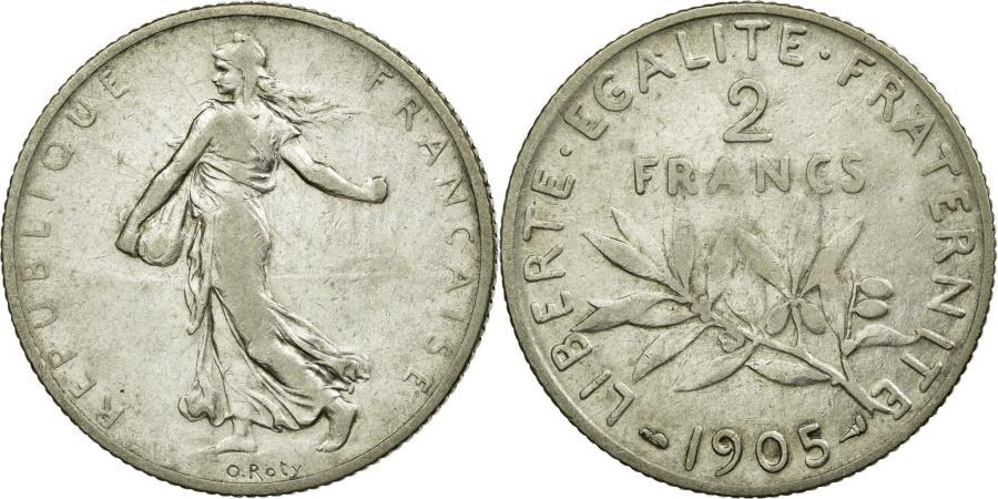 World Coins - Coin, France, Semeuse, 2 Francs, 1905, Paris, VF(30-35), Silver, KM:845.1