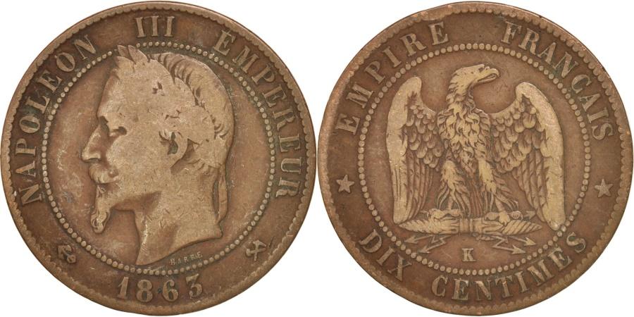 World Coins - France, Napoleon III, 10 Centimes, 1863, Bordeaux, , KM:798.3