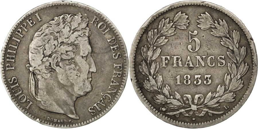 World Coins - FRANCE, Louis-Philippe, 5 Francs, 1833, Bayonne, KM #749.8, , Silver,..