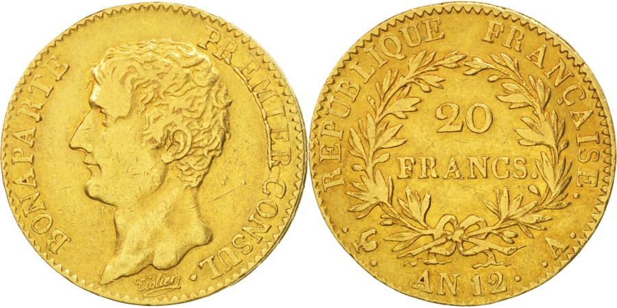 World Coins - France, Napoléon I, 20 Francs, AN 12, Paris, , Gold, KM:651