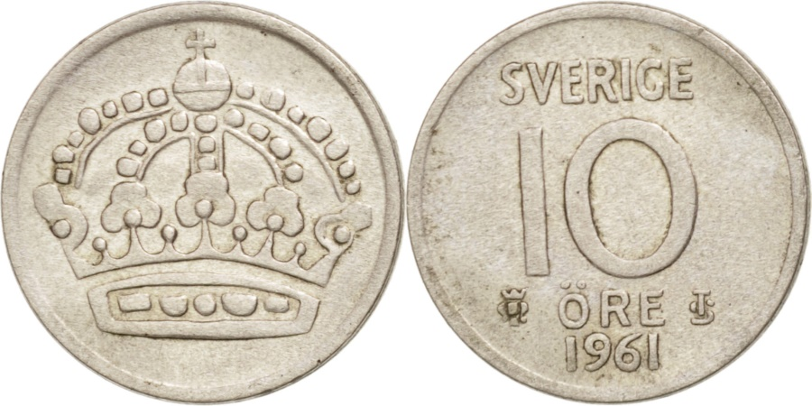 World Coins - Sweden, Gustaf VI, 10 Öre, 1961, , Silver, KM:823
