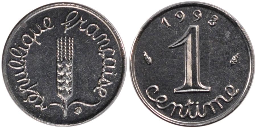 World Coins - FRANCE, Épi, Centime, 1993, Paris, KM #928, , Stainless Steel, 15, ...