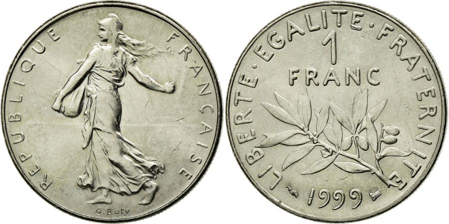 World Coins - Coin, France, Semeuse, Franc, 1999, MS(65-70), Nickel, KM:925.1, Gadoury:474