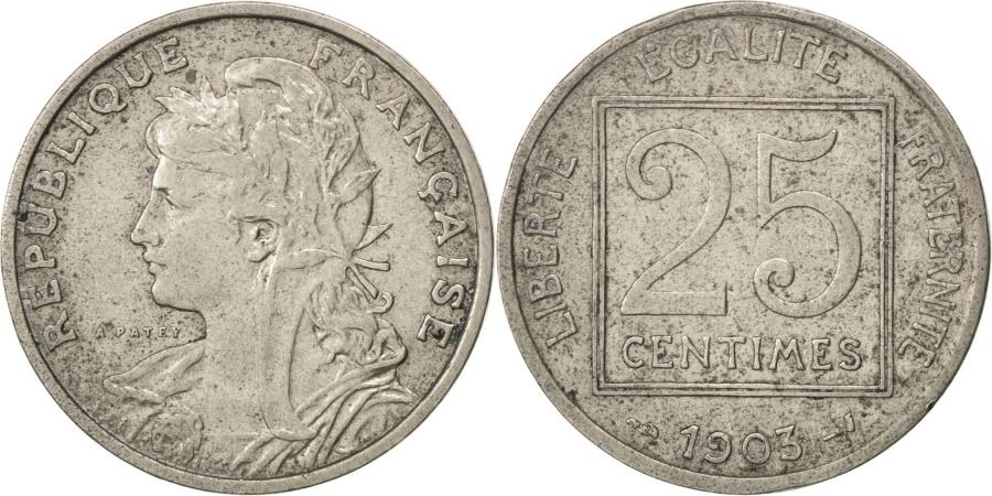 World Coins - FRANCE, Patey, 25 Centimes, 1903, Paris, KM #855, , Nickel, 24,...