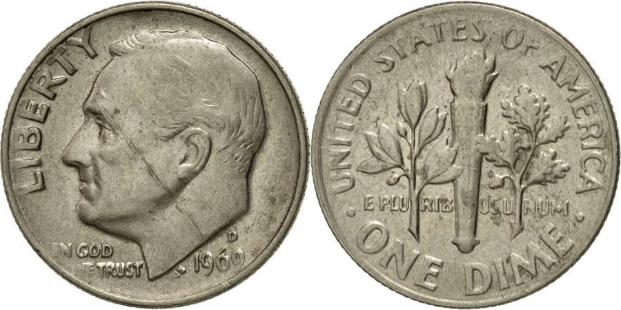 US Coins - Coin, United States, Roosevelt Dime, Dime, 1969, U.S. Mint, Denver,