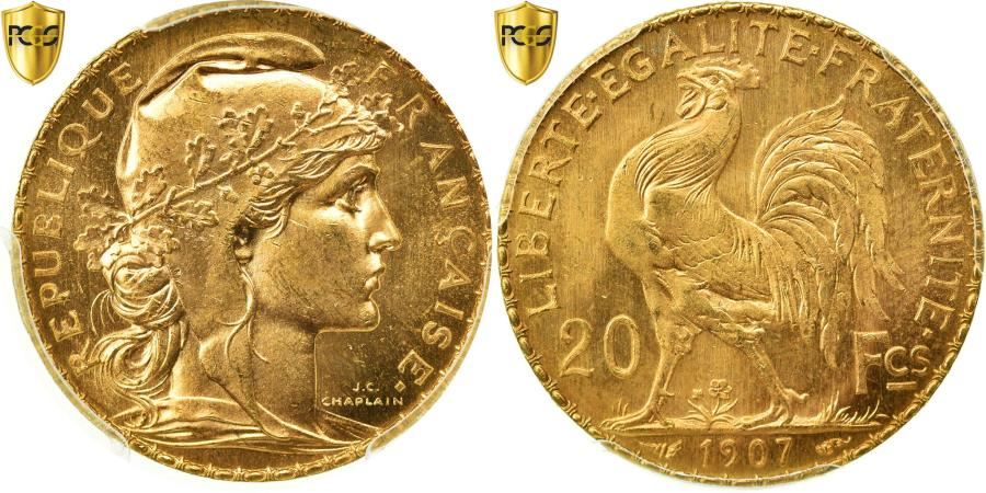 World Coins - Coin, France, Marianne, 20 Francs, 1907, Paris, PCGS, MS65, Gold, KM:857