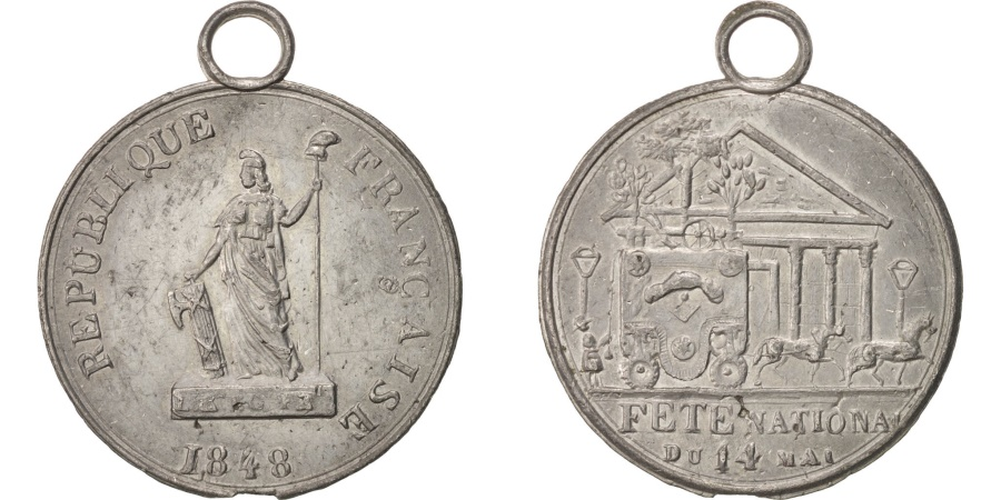 World Coins - FRANCE, History, French Second Republic, Medal, 1848, , Tin, 30, 3.20