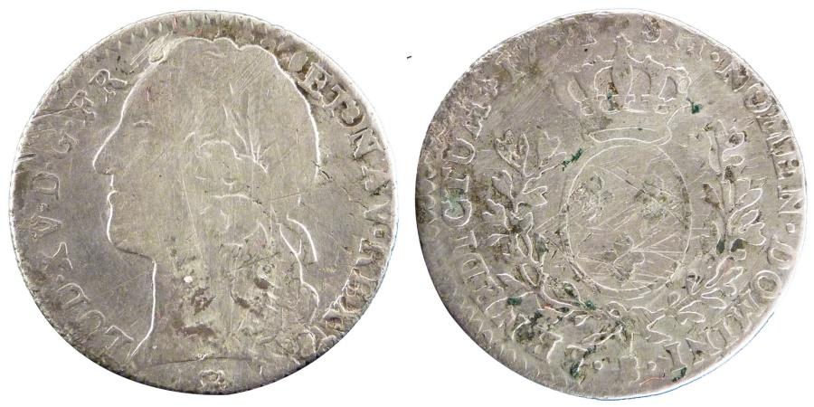 World Coins - FRANCE, 1/10 Écu au bandeau, 12 Sols, 1/10 ECU, 1741, Rouen, KM #511.3, ...