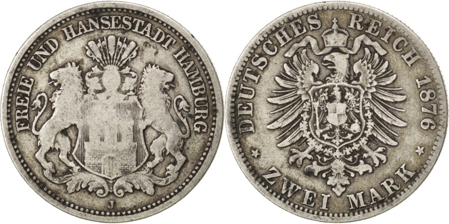 World Coins - German States, 2 Mark, 1876, Hambourg, KM #604, , Silver, 10.81