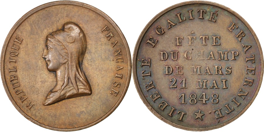 World Coins - FRANCE, Politics, Society, War, French Second Republic, Medal, ,...