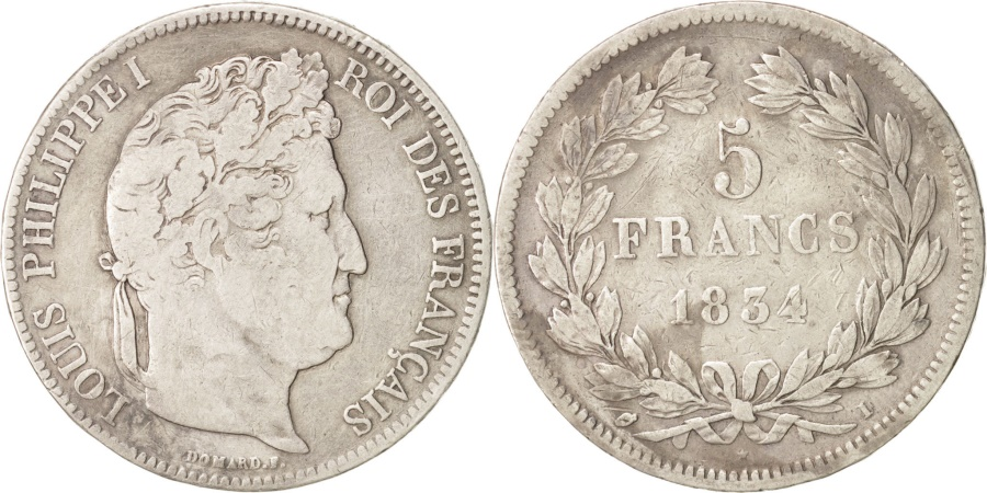 World Coins - France, Louis-Philippe, 5 Francs, 1834 I, Limoges, Silver, KM:749.6