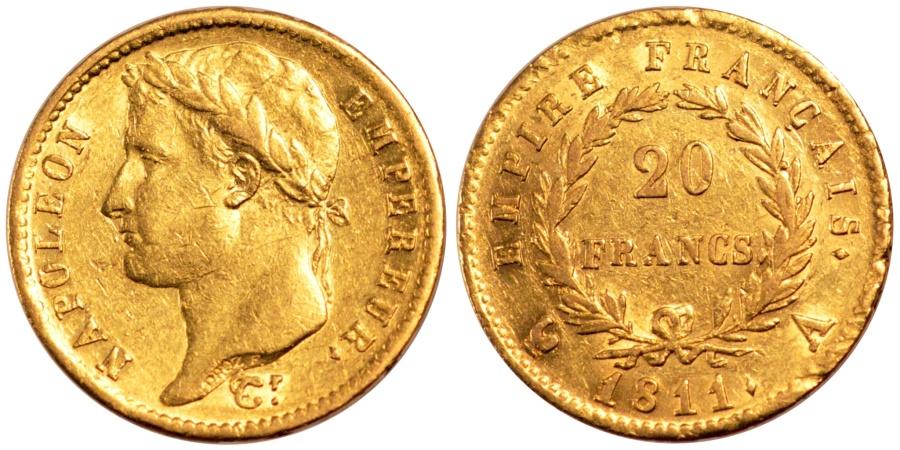 World Coins - FRANCE, Napoléon I, 20 Francs, 1811, Paris, KM #695.1, , Gold, Gadoury