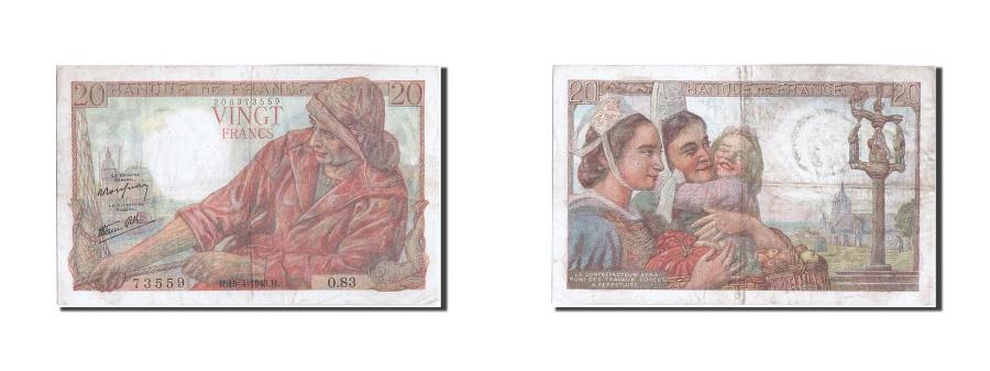 World Coins - France, 20 Francs, 20 F 1942-1950 ''Pêcheur'', 1943, KM #100a, 1943-04-15, V...
