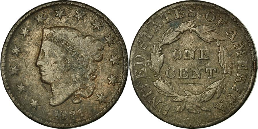 US Coins - Coin, United States, Coronet Cent, Cent, 1831, U.S. Mint, , Copper
