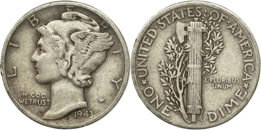 US Coins - Coin, United States, Mercury Dime, Dime, 1943, U.S. Mint, Philadelphia