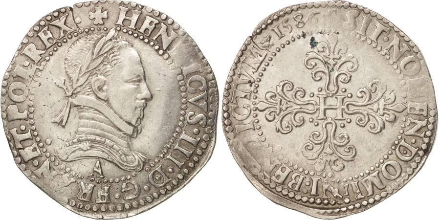 World Coins - Henri III, Franc au Col Plat, 1586, Paris, , Silver, Sombart:4714