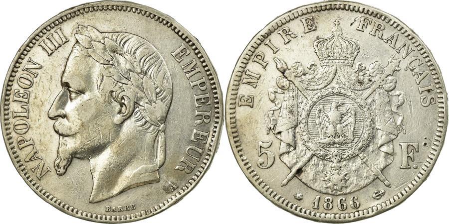 World Coins - Coin, France, Napoleon III, Napoléon III, 5 Francs, 1866, Paris, EF(40-45)