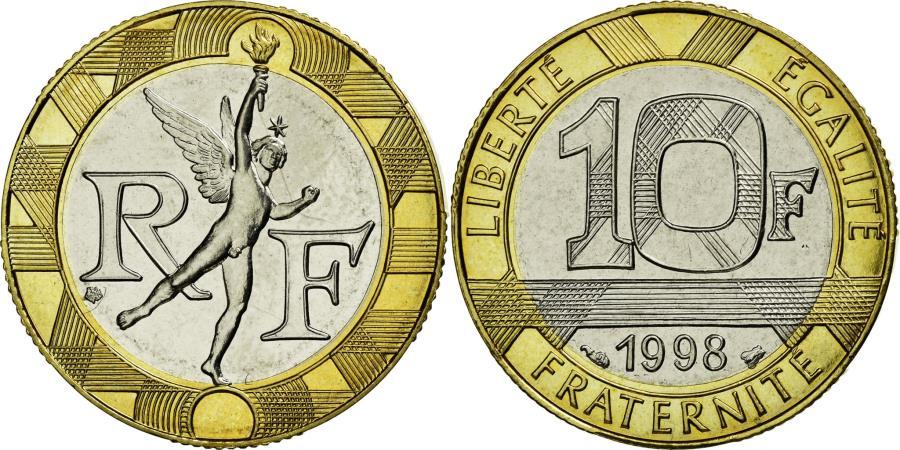 World Coins - Coin, France, Génie, 10 Francs, 1998, MS(65-70), Aluminum-Bronze, Gadoury:827