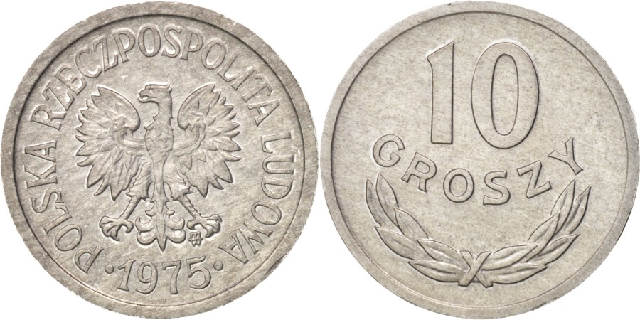 World Coins - Poland, 10 Groszy, 1975, Warsaw, , Aluminum, KM:AA47