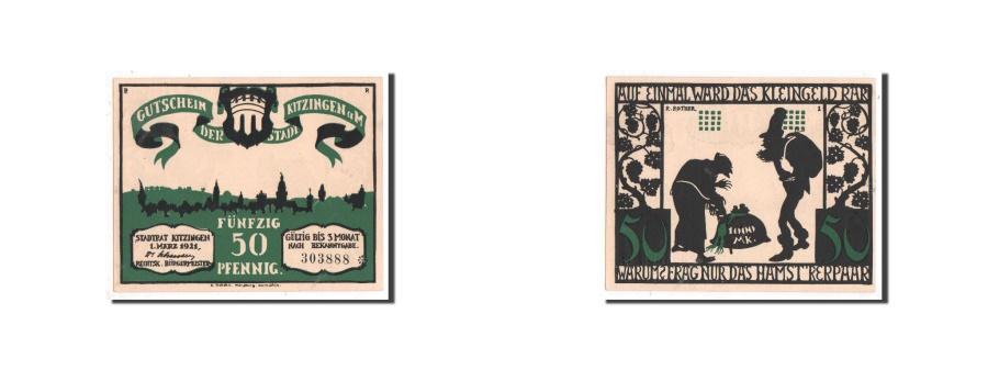 World Coins - Germany, Kitzingen, 50 Pfennig, personnage, 1921-03-01, UNC(65-70), Mehl:702.1