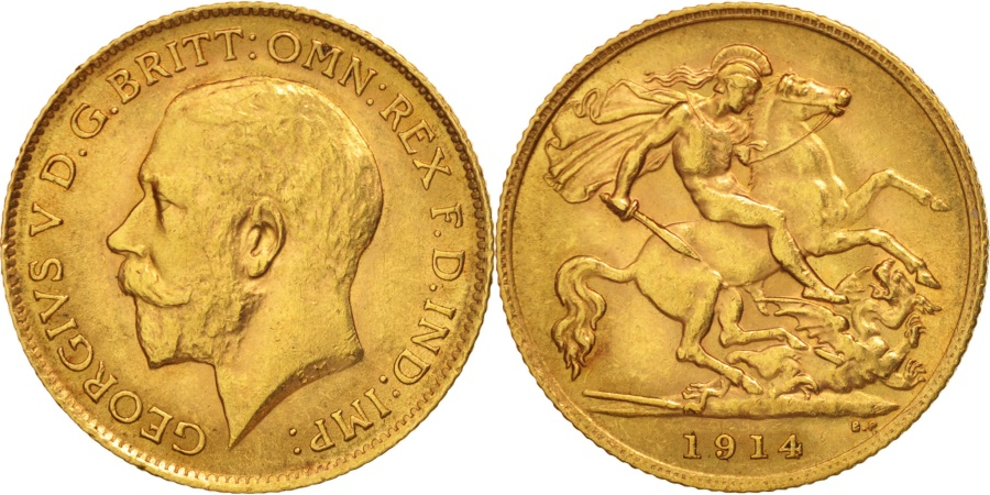 World Coins - Great Britain, George V, 1/2 Sovereign, 1914, , Gold, KM:819