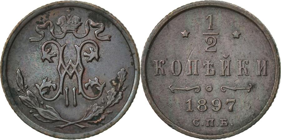 World Coins - RUSSIA, 1/2 Kopek, 1897, Saint-Petersburg, KM #48.1, , Copper, 16, 1.62