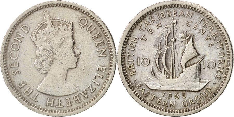 World Coins - East Caribbean States, Elizabeth II, 10 Cents, 1965, , KM:5