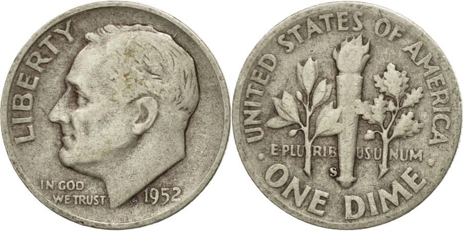 US Coins - Coin, United States, Roosevelt Dime, Dime, 1952, U.S. Mint, San Francisco