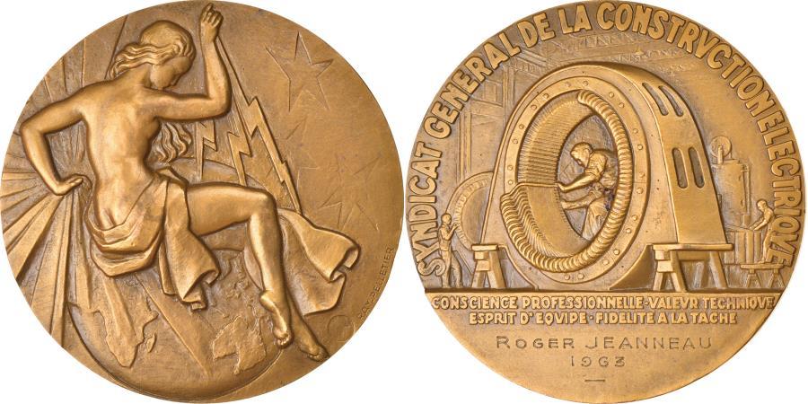 World Coins - France, Medal, Syndicat Général de la Construction Electrique, Business &