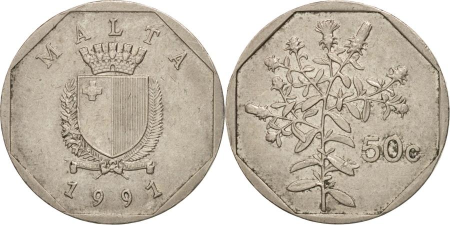 World Coins - Malta, 50 Cents, 1991, , Copper-nickel, KM:98