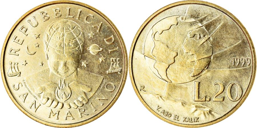 World Coins - Coin, San Marino, 20 Lire, 1999, , Aluminum-Bronze, KM:390