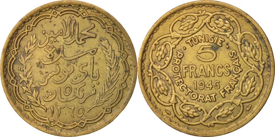 World Coins - Tunisia, Muhammad al-Amin Bey, 5 Francs, 1946, Paris, , Aluminum-Bronze