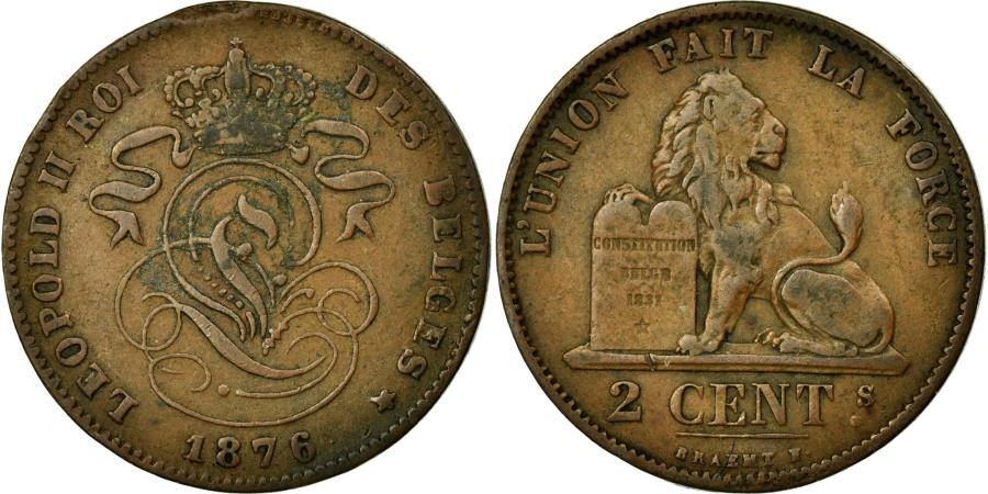 World Coins - Coin, Belgium, Leopold II, 2 Centimes, 1876, VF(30-35), Copper, KM:35.1