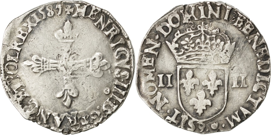World Coins - FRANCE, 1/4 Ecu, 1587, Rennes, , Silver, Sombart #4662, 9.73